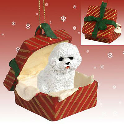 Bichon Frise Dog RED Gift Box Holiday Christmas ORNAMENT