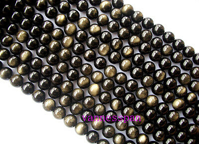 Wholesale AAA Natural Gold Obsidian Round Beads 14mm 15""