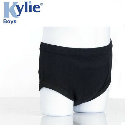 Kylie Boys Absorbent Reusable Black Incontinence Briefs (Choose Your Size)