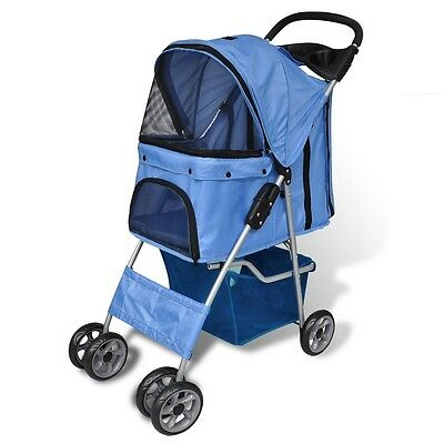 Dog  Pet Trailer Dog Cat Medium Animal Carrier Cart Stroller Blue