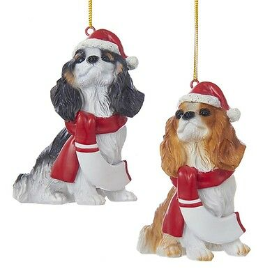 Cavalier King Charles Resin Santa Ornament 3.9 Inches Black