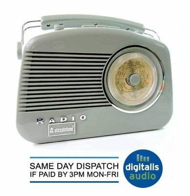 Steepletone Brighton sage green pastel retro style 3 band portable kitchen radio