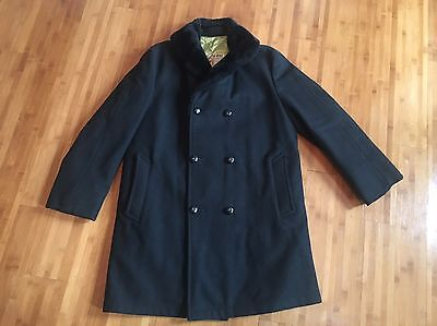 Mighty Mac Vintage Lined Pea Coat Trench Medium EUC Tycoon Collar