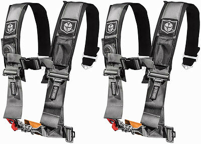 "Pro Armor 4 Point 3"" Seat Belts Harness Silver PAIR Polaris RZR XP Turbo 1000"