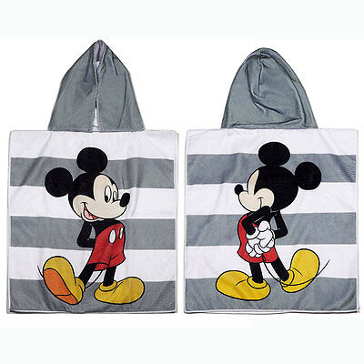 Disney Mickey Mouse Kids Striped Beach Hooded Towel NEW