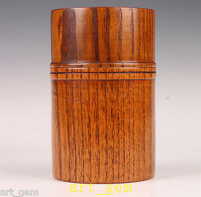 Oriental Large Solid Wood Carved Cherry Tree Top Grade Boxe Tea Caddy Pot Hand