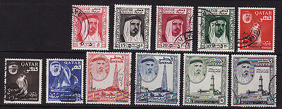 Qatar used stamps mi#162-172 new currency overprints 1966