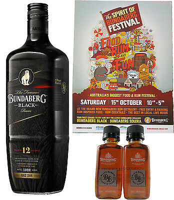 Bundaberg Rum Black Vat 244, 1 Litre & 2 Black Barrel 50ml + A3 Poster Rare