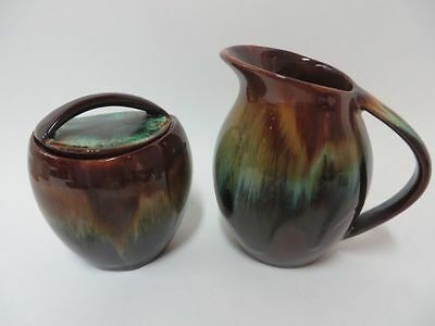 Canadian CCC Pottery Flame Glaze Covered Cream and Sugar
