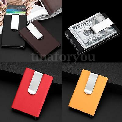 Fashion Aluminum Clip Slim ID Credit Card Protector Holder Purse Wallet Secure