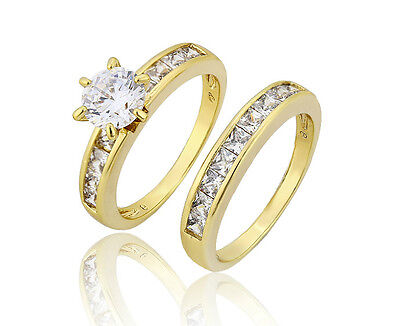 18k Yellow Gold Filled Solid CZ Size7 Wedding Rings Woman Sets R-A309
