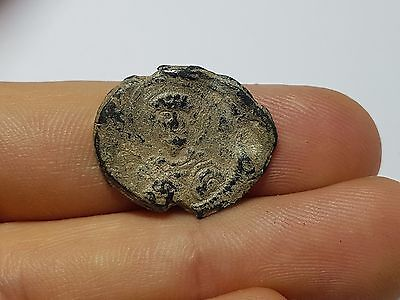 Ancient Byzantine Lead Seal With Image Of Saint And Inscription