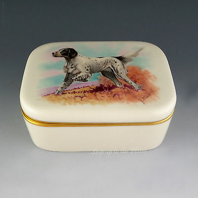 Lenox China Vintage Hand Paint Covered Box NOSEK English SETTER on Point Dog