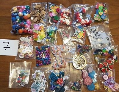 BUNDLE joblot 25 packs craft buttons cabochons ribbons charms jewellery making