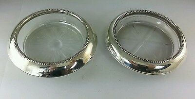 Frank M. Whiting & Co. Sterling Silver & Glass coasters