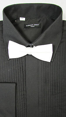 """Mens BRAND NEW Black Wedding Formal Suit Shirt With White Boe Tie SIZE 16"""""""