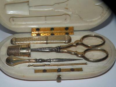 Antique French 18k Gold Sewing Tools, Embroidery Etui, Scissors Thimble CASE