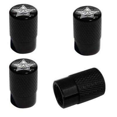 2 Black Billet Knurled Tire Valve Caps For Motorcycle Wheel - SHERIFF STAR