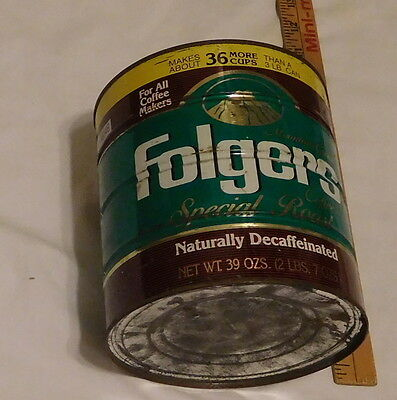 vintage Mountain Grown Folgers Coffee Special Roast Decaffeinated Tin can,39 oz
