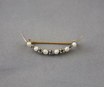 VTG 14K Gold Crescent Moon Pin Brooch Pearl Sapphire Antique