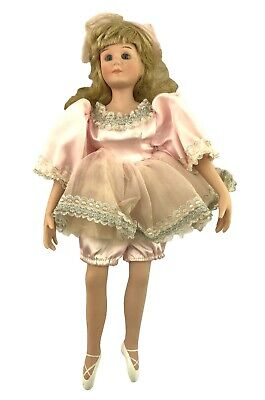 "Beautiful 17"" Porcelain Ballerina Doll Long Curly Hair No Damage Painted Shoes"