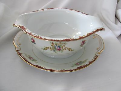 Harmony House red gold floral gravy boat attached underplate Wembley Japan