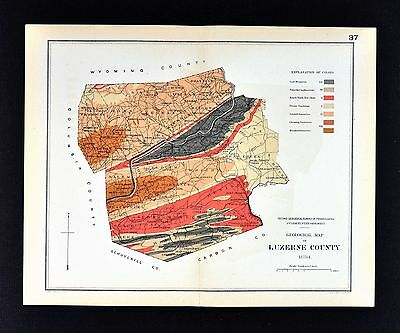 1884 Geological Map Luzerne County Pennsylvania - by Lesley Geology Survey PA