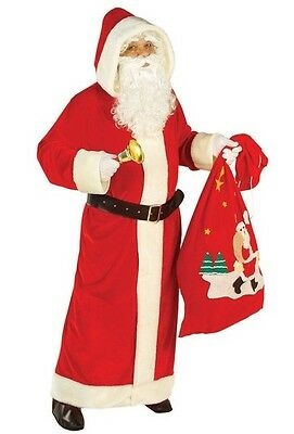 """Deluxe Hooded Father Xmas Coat Santa Claus XL Christmas Fancy Dress Costume 48"""""""