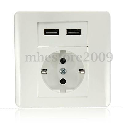 2.1A Wall Charger Adapter EU Plug Socket Power Outlet Panel Dual USB Port Switch