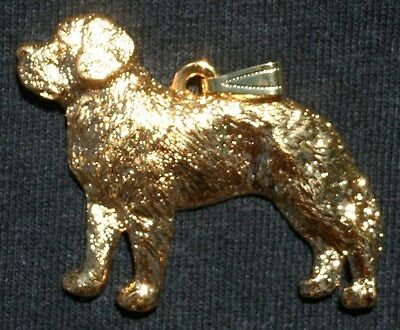 SAINT BERNARD Dog 24K Gold Plated Pewter Pendant Jewelry USA Made
