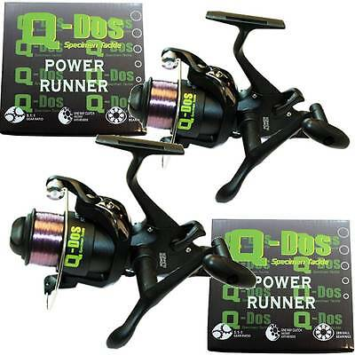 2 x 2BB Q-Dos Power Runner 4500 CARP FISHING FREE RUNNER REELS WITH 10LB LINE