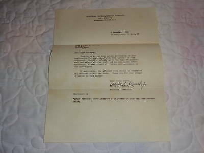 1952 Central Intelligence Agency CIA Employment Letter