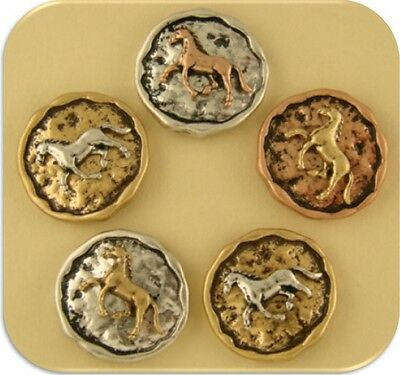 2 Hole Beads Horse Circles 3T Metal ~Equestrienne~Western~Cowboy ~ Sliders QTY 5