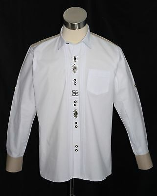 WHITE Bavarian Oktoberfest Lederhosen Dress Shirt Long Sleeve German M L XL NEW