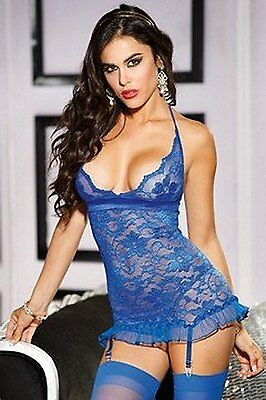 Shirley of Hollywood numero 25372 Medium Blu Royal pizzo Stretch gartered Chemis