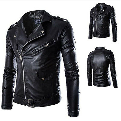 2016 Slim Mens Motor Biker Real Sheepskin Leather Motorcycle Men's Black Jacket
