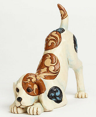 New JIM SHORE Figurine BEAGLE DOG PLAYING Quilt Folk Art Terrier HEARTWOOD CREEK
