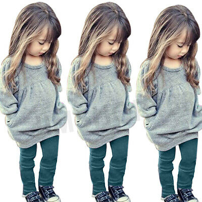 2pcs Toddler Baby Girls Clothes Warm Long Sleeve T-shirt Tops+Pants Outfits Set