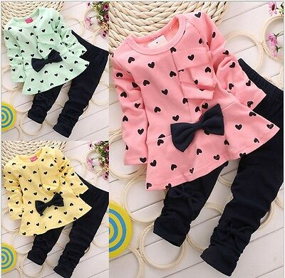 2Pcs Kids Baby Girls Long Sleeve Cotton T-shirt Tops + Pants Clothes Outfits Set