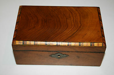 Antique Victorian Mahogany Wood Tunbridge Ware Style Inlaid Box Jewellery Boxes