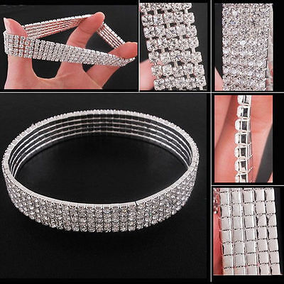 Stretchy 3,4,5 Rows Anklet Ankle chain - Diamante Rhinestones Silver Bling Bling