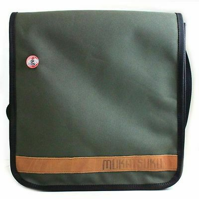"Mukatsuku 12"" Vinyl Record Messenger Shoulder Bag 25 (olive green bag holds 2..."