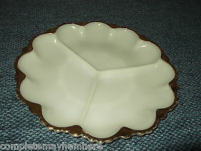 Anchor Hocking White milk glass devilled eggs nibbles plate gold edge divided