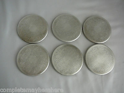 Set of 6 Strahan silver plate drink coasters 8.25cms vintage bar entertaining