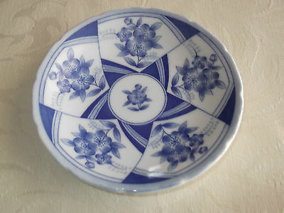 Pretty floral blue and white pin or butter dish