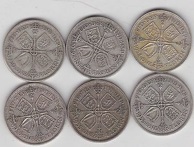 1928/1929/1930/1933/1935 & 1936 50% Silver Florins In Good Fine Condition