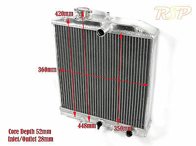 Kit Car Universal Compact 3 Row Alloy Radiator Core Size 360mm x 350mm x 52mm