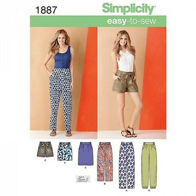 Misses' Pants & Skirts Simplicity Fabric Sewing Pattern 1887