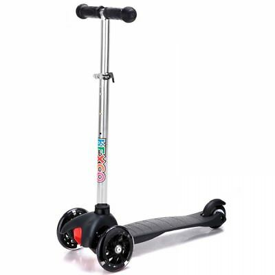 Black Push Kick T Bar Childrens Kids Tilt And Turn Scooter Light Up 3 Wheels Toy