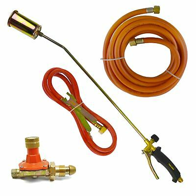 Gas Torch Burner 2m & 5m Propane Hose Roofer Plumber Weed Regulator